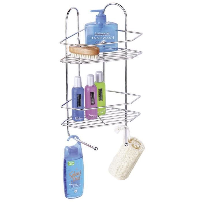 chrome 2 niveau coin douche rack avec 2 crochets de suspension achat vente petit meuble. Black Bedroom Furniture Sets. Home Design Ideas