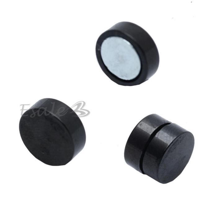 8mm boucles d 39 oreilles magn tique aimant noir acier. Black Bedroom Furniture Sets. Home Design Ideas