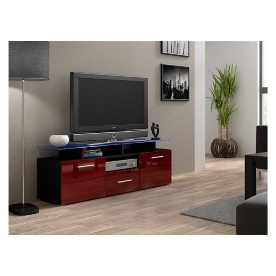 meuble tv design evori mini noir et bordeaux achat vente meuble tv meuble tv evori mini nr. Black Bedroom Furniture Sets. Home Design Ideas