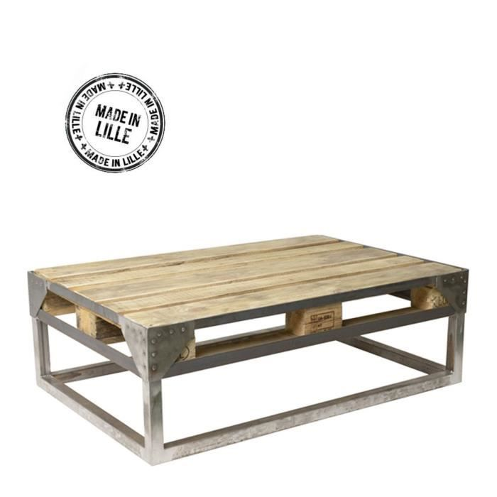 Table basse palette industrielle cargo couleur achat vente table bass - Table basse palette industrielle vintage ...
