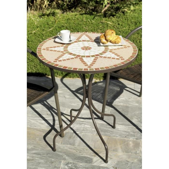 Table ronde de jardin en mosa que pas cher table ronde for Table en fer exterieur