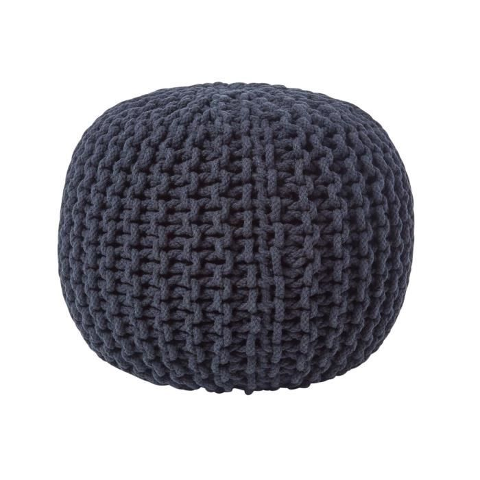 pouf en tricot rond noir achat vente pouf poire cdiscount. Black Bedroom Furniture Sets. Home Design Ideas