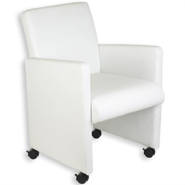 fauteuil sur roulettes antonia blanc achat vente chaise de bureau blanc cdiscount. Black Bedroom Furniture Sets. Home Design Ideas