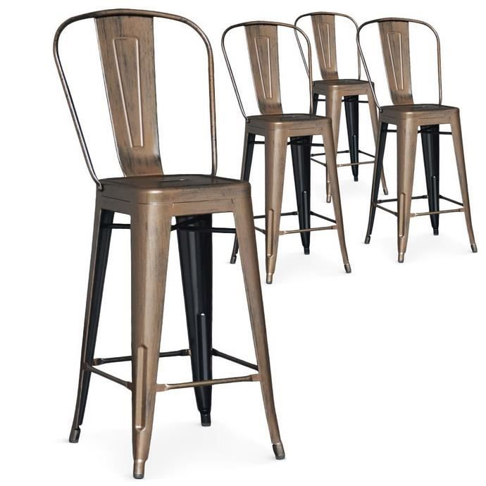 Lot de 4 chaises de bar lok m tal bronze achat vente for Achat chaise de bar