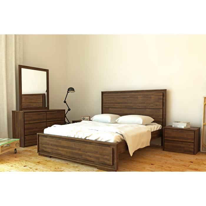 miliboo lit deux places 160x200 en acacia nat achat vente structure de lit natural lit. Black Bedroom Furniture Sets. Home Design Ideas