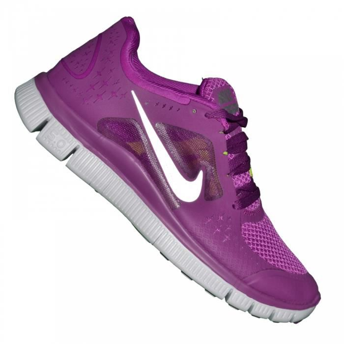 nike basket running femme free run violet argent violet achat vente basket cdiscount. Black Bedroom Furniture Sets. Home Design Ideas
