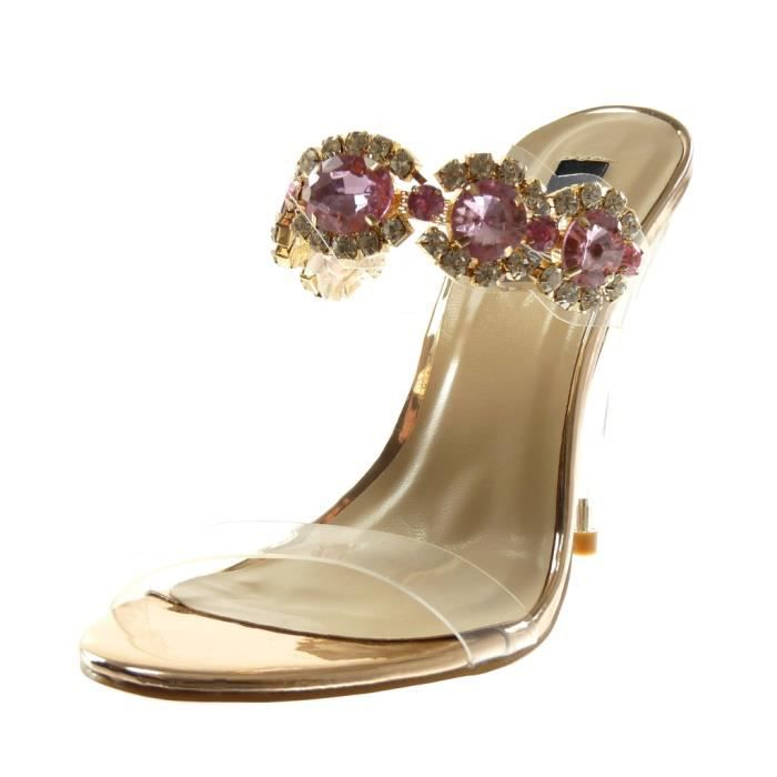 Sandale Chaussure On Mode Femme Transparent Slip Escarpin Angkorly nwPv0OymN8