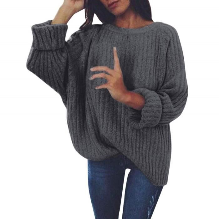 Robe Pull Femme Hiver En Maille Decontractee Sweater Pas Cher A La Mode A Manches Longues Velours Pullover Gris Fonce Achat Vente Pull Cdiscount