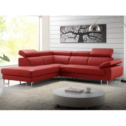 canap d 39 angle cuir colisee rouge angle gauche achat vente canap sofa divan cdiscount. Black Bedroom Furniture Sets. Home Design Ideas