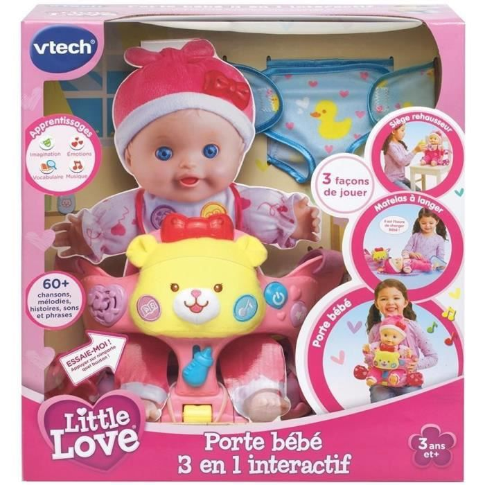 vtech little love porte bebe 3 en 1 interactif achat vente accessoire poupon cdiscount. Black Bedroom Furniture Sets. Home Design Ideas