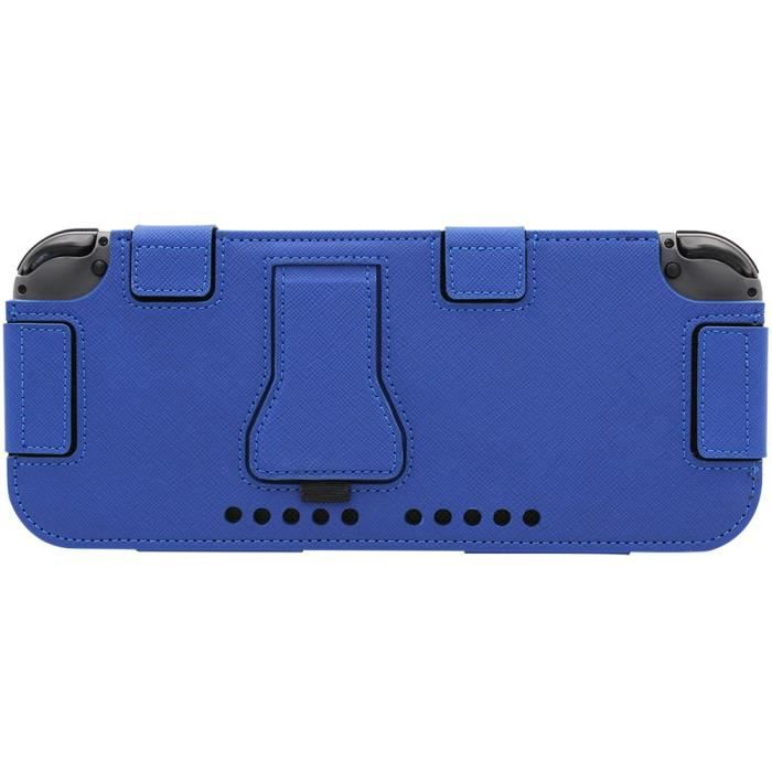 Housse de protection pour nintendo switch en pu cuir bleu for Housse nintendo switch zelda