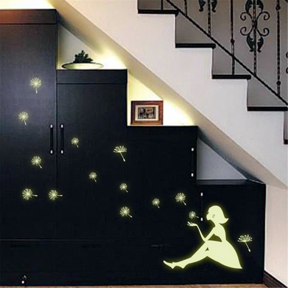 autocollant mural phosphorescent pissenlit fille pour d co. Black Bedroom Furniture Sets. Home Design Ideas