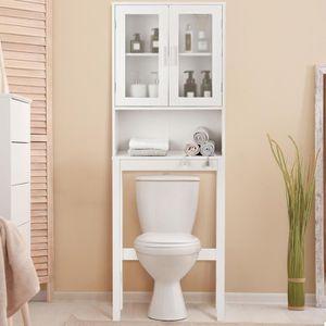 Meuble Dessus Toilette WC Meuble de Salle de Bain avec 2 Portes Étagère de  salle de bain Armoire de toilettes WC