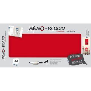 MÉMO - ARDOISE MURALE EMOTION Mémo board magnétique verre rouge 20x50 cm