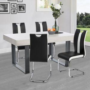 CHAISE Lot de 4 chaises PIA noires et blanches pour salle