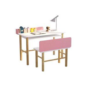BUREAU BÉBÉ - ENFANT Miliboo - Bureau enfant avec banc rose et bois cla