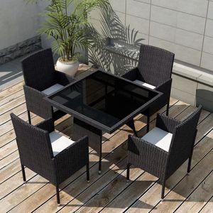 SALON DE JARDIN  9 pcs Jeu de mobilier de jardin Ensemble table cha