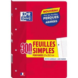 FEUILLET MOBILE OXFORD Feuilles mobiles A4 5x5