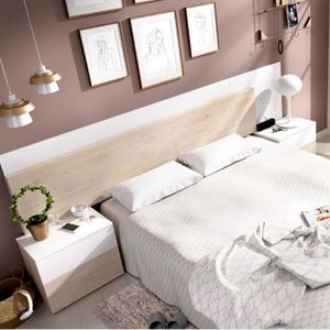 TÊTE DE LIT Tete de lit + 2 tables de chevet coloris blanc bri