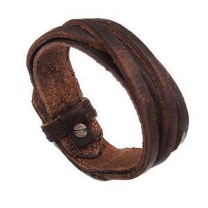 BRACELET - GOURMETTE Bracelet en similicuir tressé multicouche Vintage