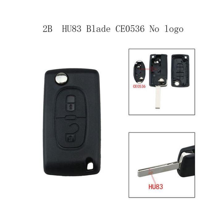 Porte-clés de voiture pliable 2-3-4 boutons pour Peugeot et Citroen, coque sans logo, pour modèles 207 307 308 407 607 [BBF3968]