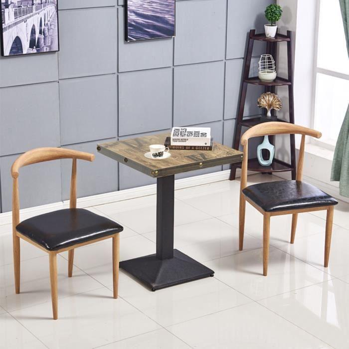 Table de bar carrée design industriel table bistrot 60*60*75cm piètement central