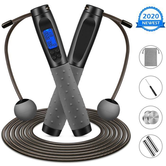 corde à sauter bienfaits à comptage électronique MOVTOTOP / sans fil 2 en 1 réglable de 3 m / pour l'entraînement de fitness