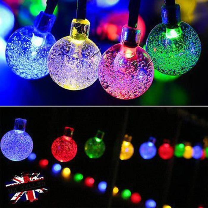 Guirlandes d'énergie solaire Cadeau Décor pour Noel fête mariage 30LED en forme de boule LEDs lampe solaire - (Multicolore)