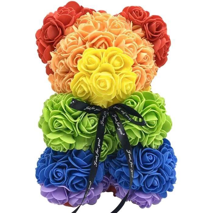 Fleur de rose en our en Peluche Rose en Coffret Cadeau de Noël Saint Valentin Teddy Rose Cadeau De Décoration Valentin la Fête