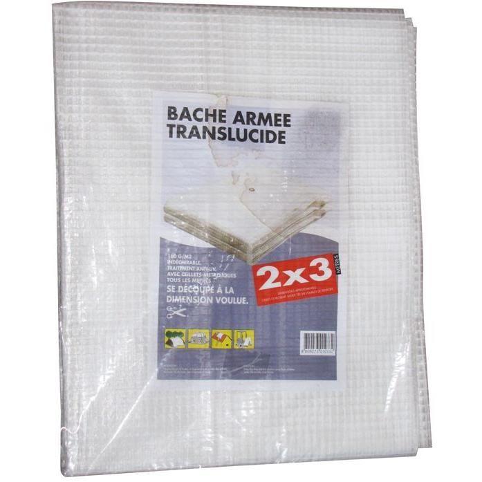 Bâche armée translucide - 2x3 m