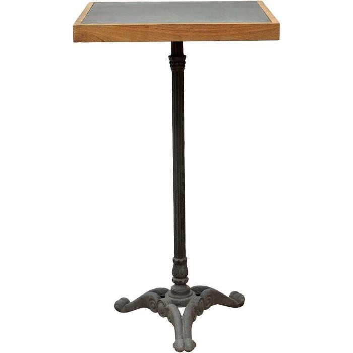 Table bistrot carrée haute pieds fantaisies en fer forgé 60 x 60 x 105 cm