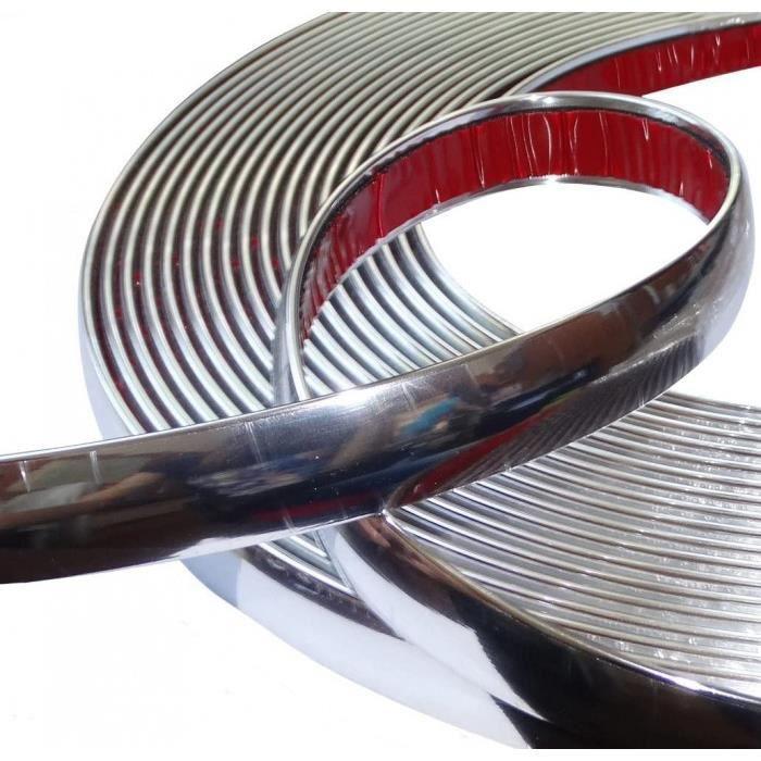 aerzetix: 20mm 4.5m bande baguette adhésive couleur chrome nickel argent