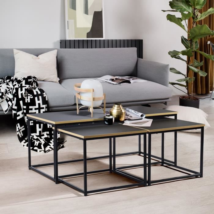 3 Tables basses rectangulaires gigognes en boir et métal noir design industriel