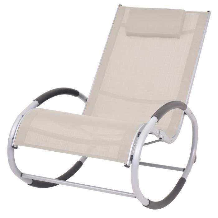 ❤Moderne Chaise à bascule Fauteuil de Relaxation d'extérieur Mode Chaise de Jardin Crème Textilène ��40931
