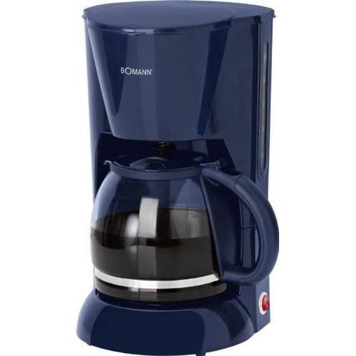 Cafetière en verre - 1,5 l - Affichage du niveau d'eau - 12 tasses (filtre amovible, plaque chauffante, 900 W, bleu)