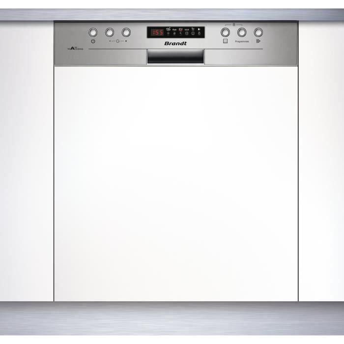 Lave-vaisselle encastrable BRANDT VH15X - 13 couverts - Largeur 60 cm - Classe A++ - 44 dB - A++ - Bandeau inox/silver