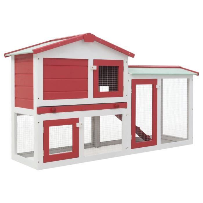 ETO-CIK Clapier large d'extérieur Rouge et blanc 145x45x85 cm Bois