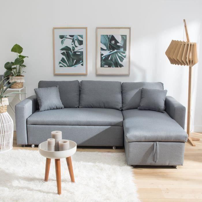 Canapé d'angle convertible CLARK 3 places gris
