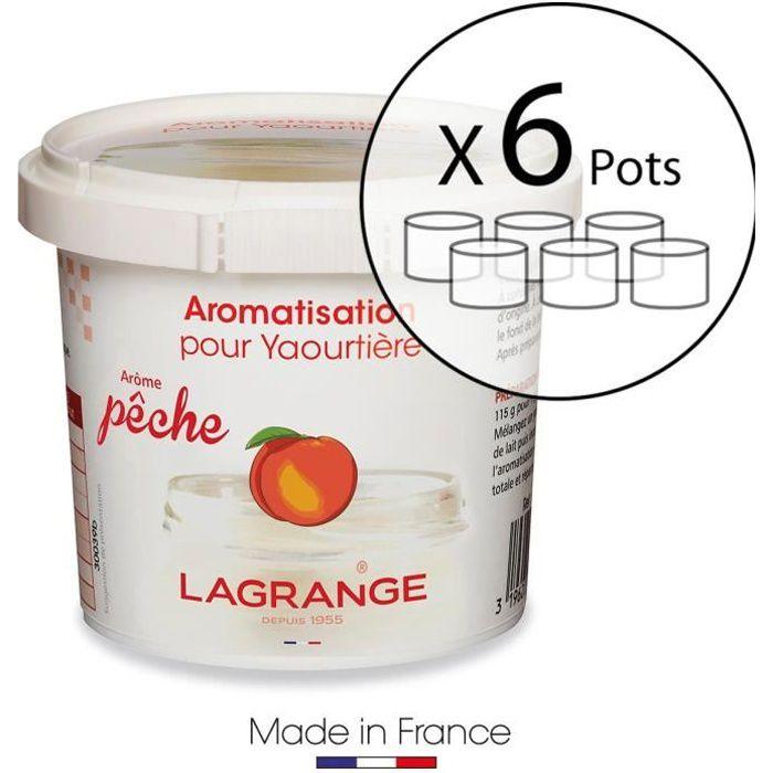 LAGRANGE Lot de 6 pots d'aromatisation pour yaourts Pêche