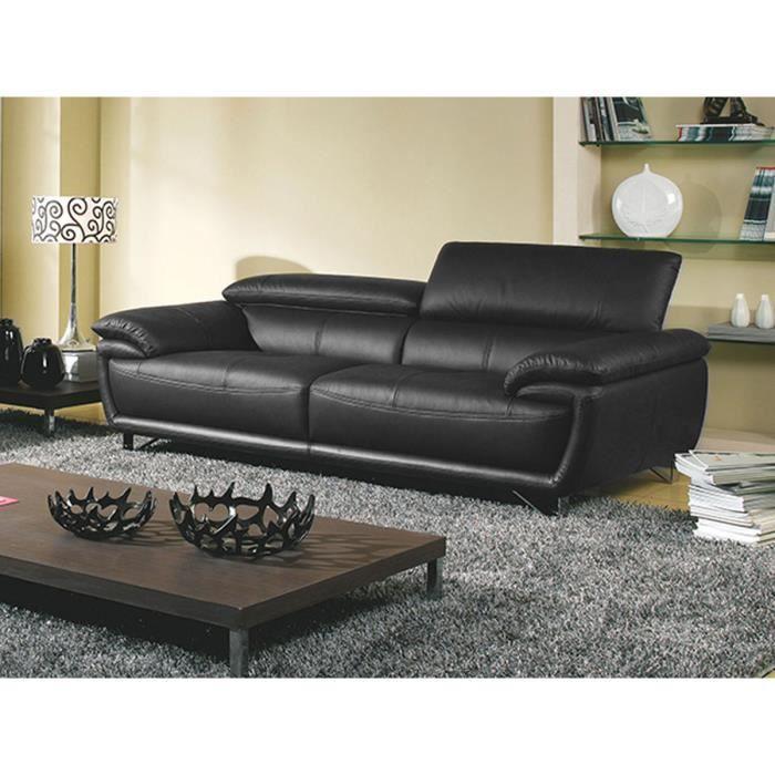 Canapé 3 places en cuir noir BAYA