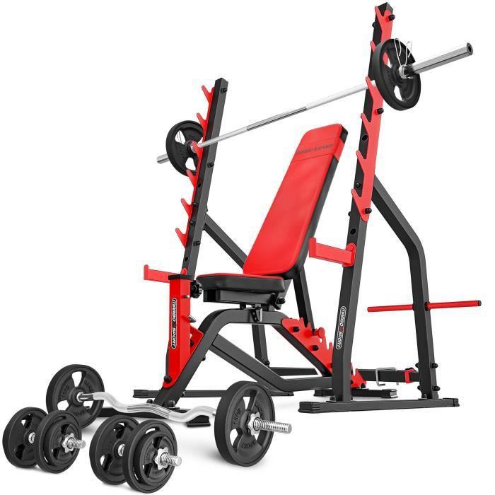 Marbo Sport Set MS3 140KG Kier G - Banc de musculation + support d'haltères + barres et disques d'haltères caoutchoutés 83 kg