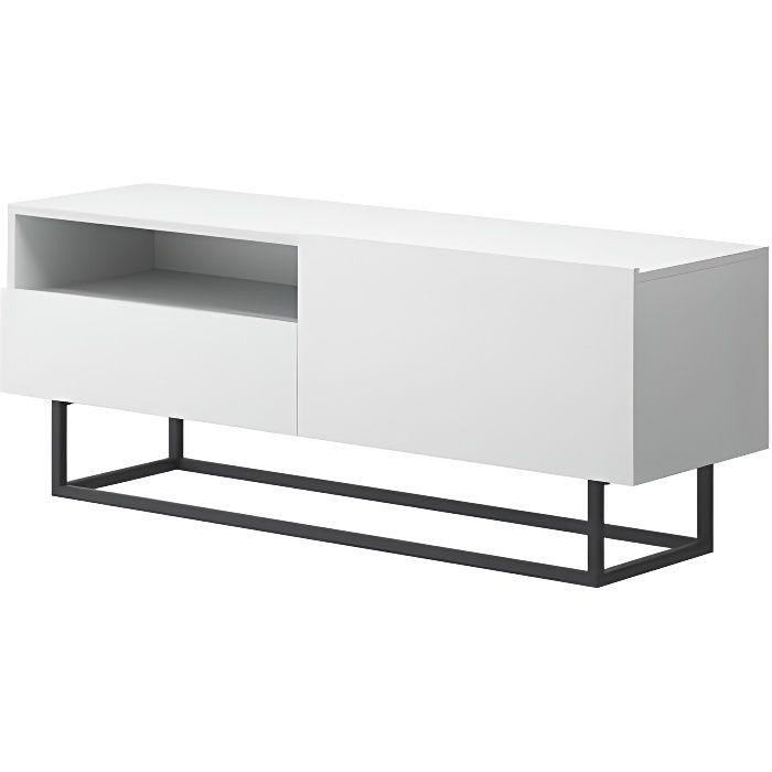 Meuble télé industriel ENJOY avec rangement couleur blanc