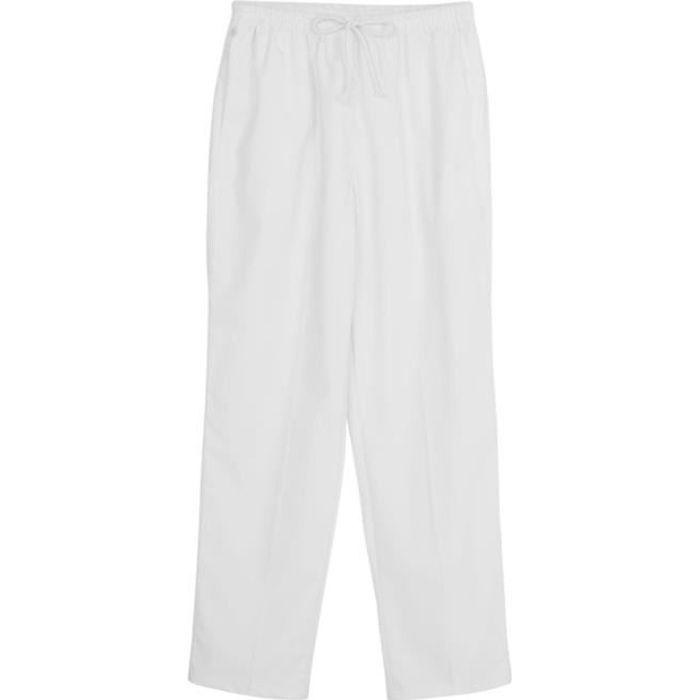 Femme Pantalon Médical Taille Elastique Cargo Scrub Pants Pantalon Infirmière Docteur S-XXL Blanc