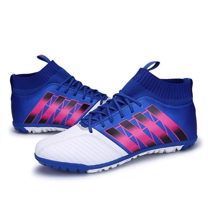 Chaussures de football adultes enfant Chaussures hautes Épissage Antidérapant PU Tissage volant Chaussures Courses d'entraînement