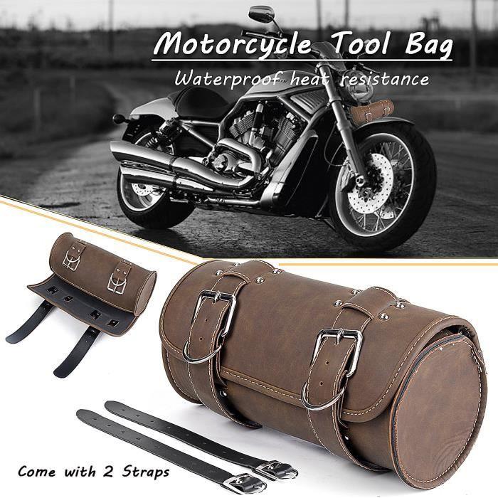 1 x Moto Sacoche Outils Moto Petit Sac de Moto Rond Avant Arrière Pour Harley Sportster