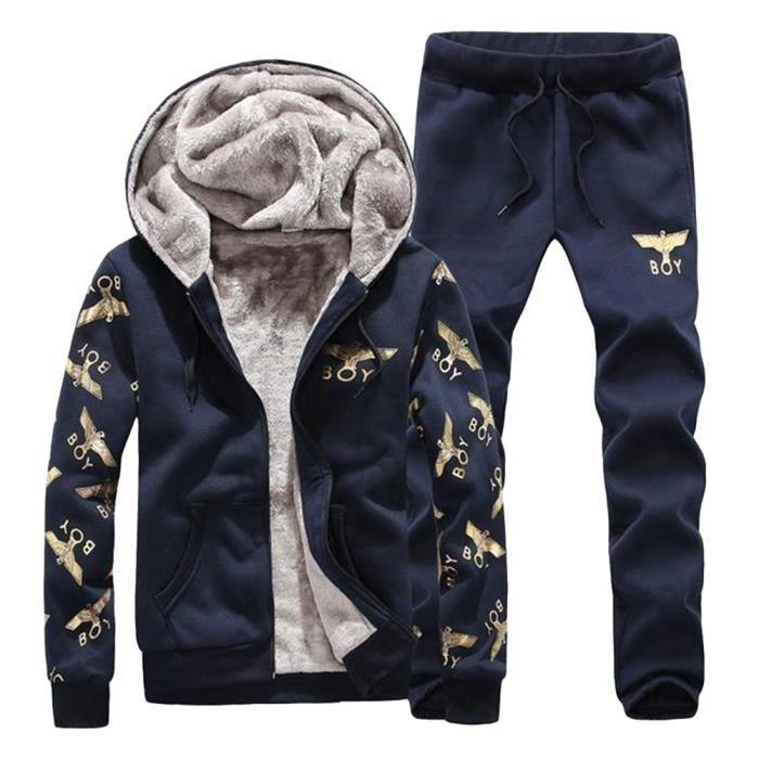 Hooded Sports Jogging Sweat Suits Élastique Casual Mode Survêtements Molletonnés Survêtements Vestes et Pantalons pour hommes