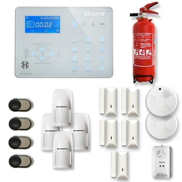 Alarme maison sans fil ICE-B 4 à 5 pièces mouvement + intrusion + détecteur de fumée + gaz + extincteur - Compatible Box internet