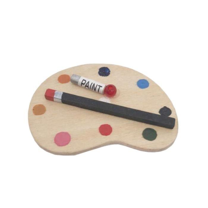 3 PCS Simulation Peinture Palettes Mini Scène Accessoires Planche À Dessin Miniatures Jouer Maison pour Enfants CHEVET
