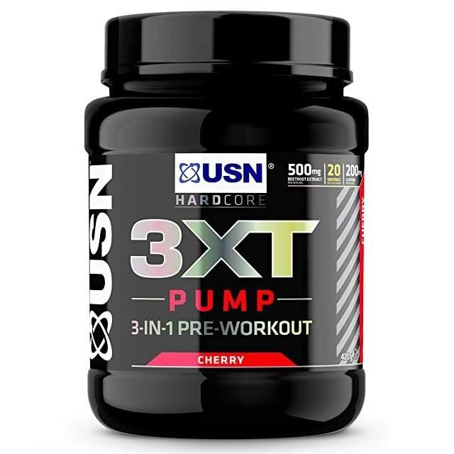 3XT Pump USN Cerise 420 G - Booster, Pre Workout, Pre Entraînement - Energie, Congestion, Force