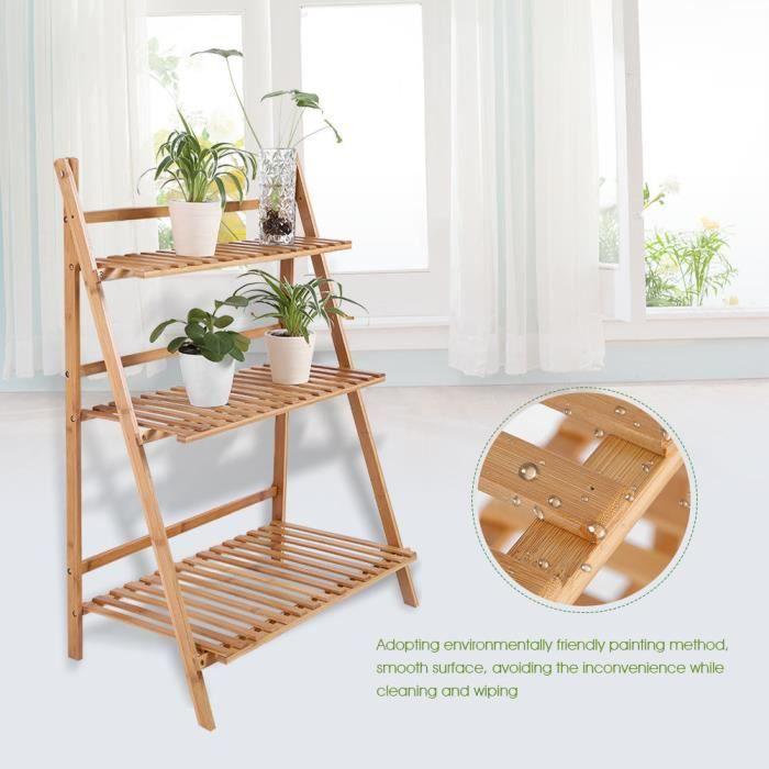 Escalier étagère meuble étagère jardin pour plantes en bois - couleur bois